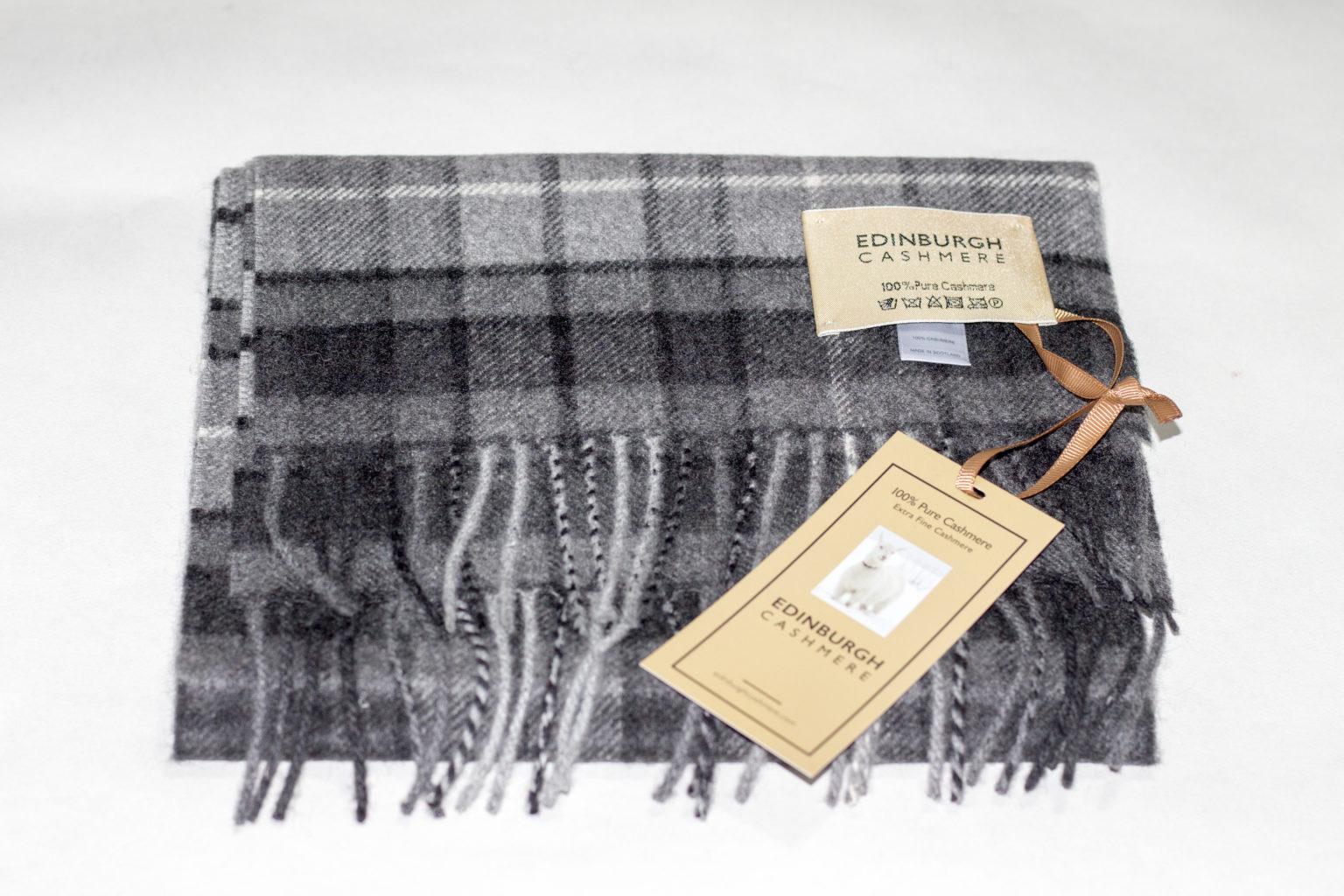 Grey Check cashmere Scarf